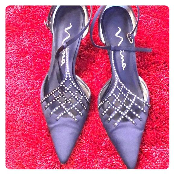 "Nina Shoes - 4"" Navy Blue jeweled strap shoes"